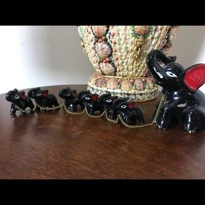 VTG Japan Mama and Baby Elephants On Chain Statue